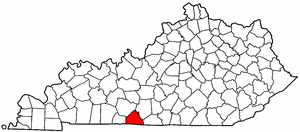 Kentucky Map showing Allen County