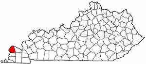 Kentucky Map showing Ballard County