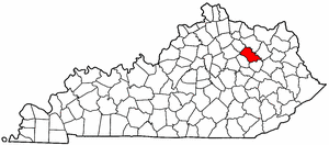 Kentucky Map showing Bath County