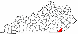 Kentucky Map showing Bell County