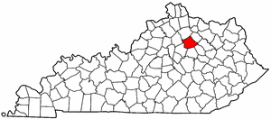 Kentucky Map showing Bourbon County