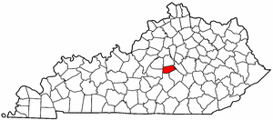 Kentucky Map showing Boyle County