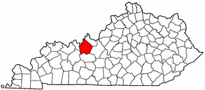 Kentucky Map showing Breckinridge County