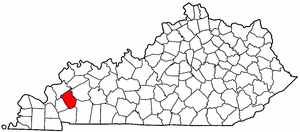 Kentucky Map showing Caldwell County