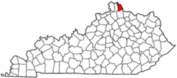 Kentucky Map showing Campbell County