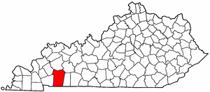 Kentucky Map showing Christian County