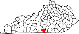 Kentucky Map showing Cumberland County