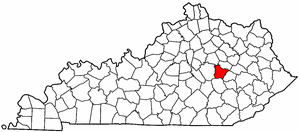 Kentucky Map showing Estill County