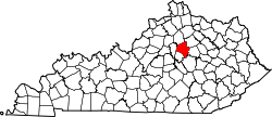 Kentucky Map showing Fayette County