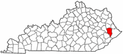 Kentucky Map showing Floyd County