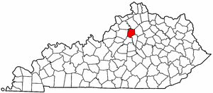 Kentucky Map showing Franklin County
