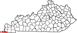 Kentucky Map showing Fulton County