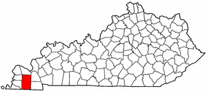 Kentucky Map showing Graves County