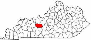 Kentucky Map showing Grayson County