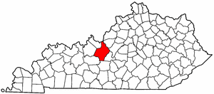 Kentucky Map showing Hardin County