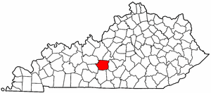Kentucky Map showing Hart County