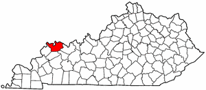 Kentucky Map showing Henderson County