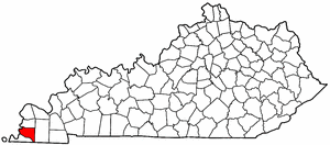 Kentucky Map showing Hickman County