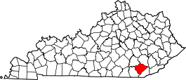 Kentucky Map showing Knox County
