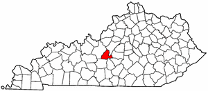 Kentucky Map showing Larue County