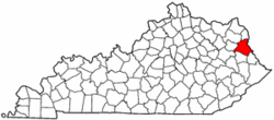 Kentucky Map showing Lawrence County