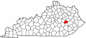 Kentucky Map showing Lee County