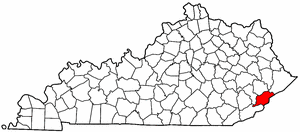 Kentucky Map showing Letcher County