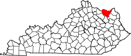 Kentucky Map showing Lewis County