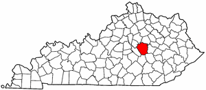 Kentucky Map showing Madison County