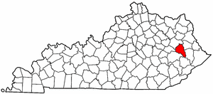 Kentucky Map showing Magoffin County