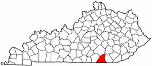 Kentucky Map showing McCreary County
