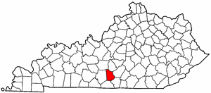 Kentucky Map showing Metcalfe County
