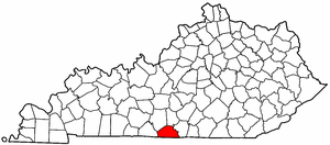 Kentucky Map showing Monroe County