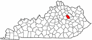 Kentucky Map showing Montgomery County