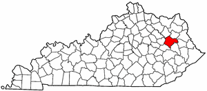 Kentucky Map showing Morgan County