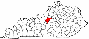 Kentucky Map showing Nelson County