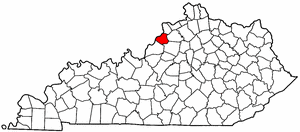 Kentucky Map showing Oldham County