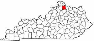 Kentucky Map showing Pendleton County