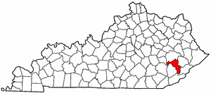 Kentucky Map showing Perry County
