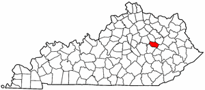 Kentucky Map showing Powell County