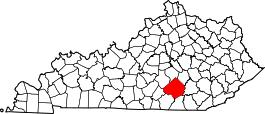 Kentucky Map showing Pulaski County