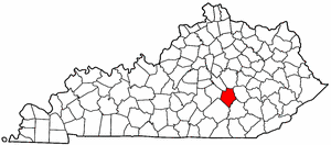Kentucky Map showing Rockcastle County
