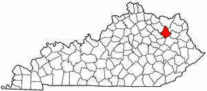 Kentucky Map showing Rowan County