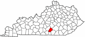 Kentucky Map showing Russell County
