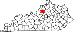 Kentucky Map showing Shelby County