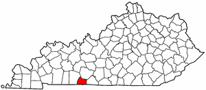 Kentucky Map showing Simpson County
