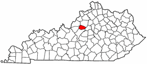 Kentucky Map showing Spencer County