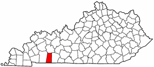 Kentucky Map showing Todd County