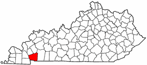 Kentucky Map showing Trigg County