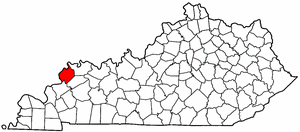 Kentucky Map showing Union County